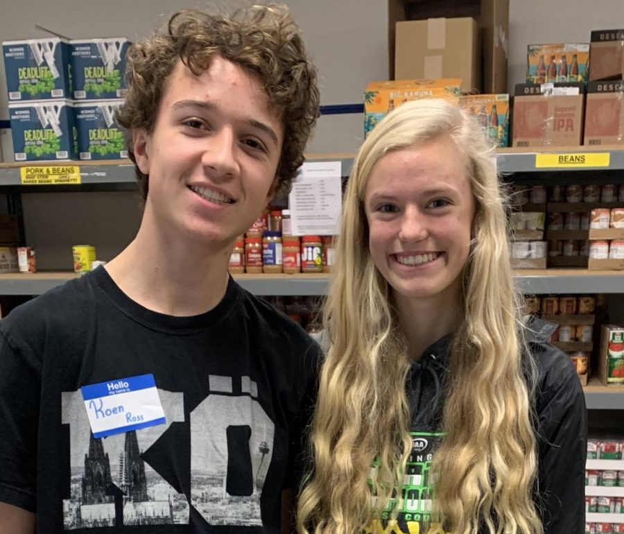 Koen Ross, left, and Alexandra Traffalis volunteered at St. Vincent de Paul last year for Sophomore Day of Service. This year